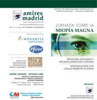 Detalle del tríptico de la Jornada sobre miopía magna: Patologías asociadas y neovascularización coroidea. Investigación con células madre en la retina.